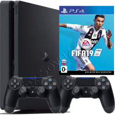 Sony PlayStation 4 Slim 500 Gb, 2-й джойстик и игра FIFA 19