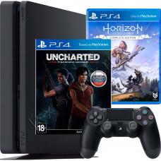Sony PlayStation 4 Slim 500 Gb + игра Horizon Zero Dawn и Uncharted: Утраченное наследие