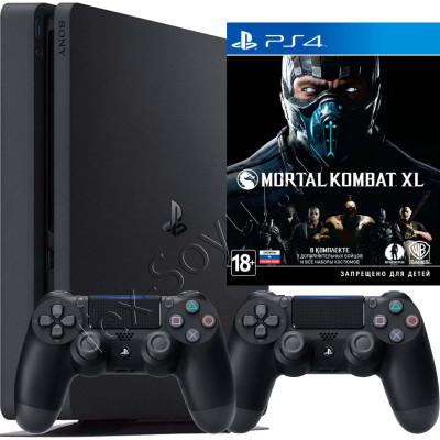 Sony PlayStation 4 Slim 500 Gb, 2-й джойстик и игра Mortal Kombat XL