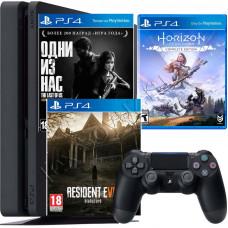 Sony PlayStation 4 Slim 500 Gb + игра Horizon Zero Dawn + Одни из нас + Resident Evil Biohazard