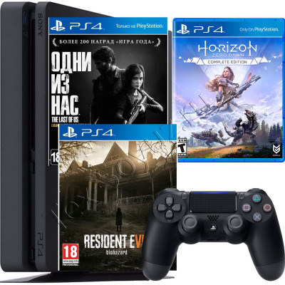 Sony PlayStation 4 Slim 500 Gb + игра Horizon Zero Dawn + Одни из нас + Resident Evil Biohazard